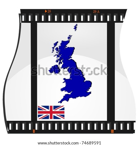 film shots with a national map of United Kingdom - stock vector