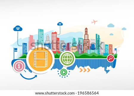 Film sign and cityscape background with different icon and elements. Design for the print, advertising. - stock vector