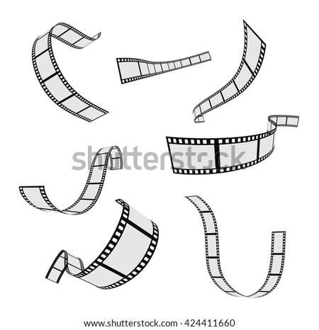 film strip and film reel design set - stock vector