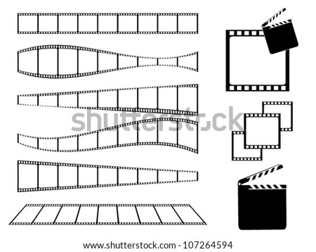 Film strip and movie clapper set - stock vector