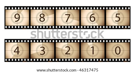 Film strip countdown - stock vector