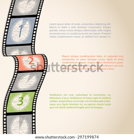 Film strip countdown infographic design with text - stock vector