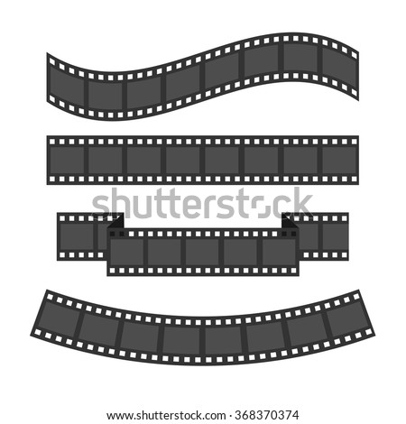Film strip frame set. Different shape ribbon. Design element. White background. Isolated. Flat design. Vector illustration - stock vector