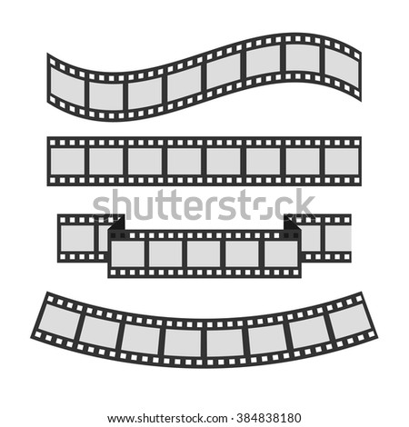 Film strip frame set. Different shape ribbon. Template. Design element. White background. Isolated. Flat design. Vector illustration - stock vector