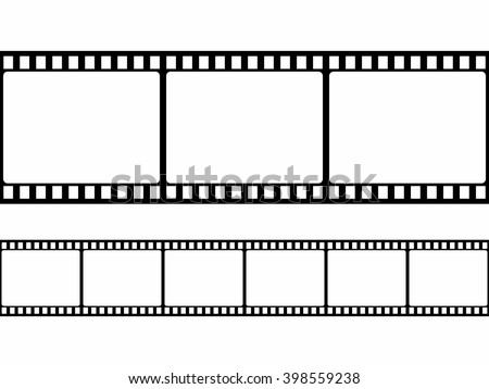 Film strip frame set in flat style isolated on white background. Design element Vector illustration