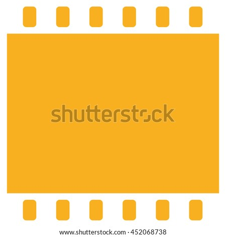 Film strip icon vector. Yellow background - stock vector