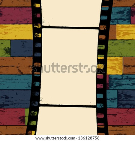 Film strip on colorful seamless wooden background. Vector, EPS10 - stock vector
