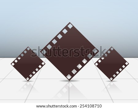Film strip on stylish light sky blue colour background.