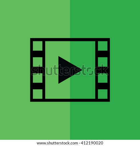 Film strip / play button icon on green background vector illustration - stock vector