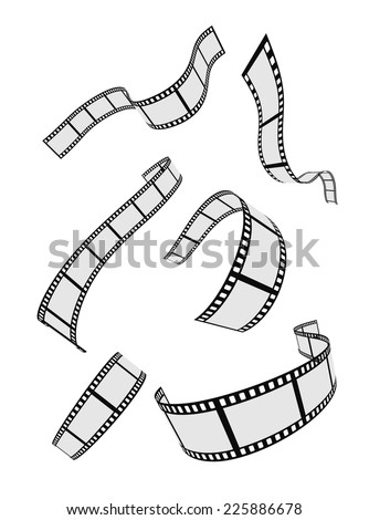film strip roll design elements set - stock vector