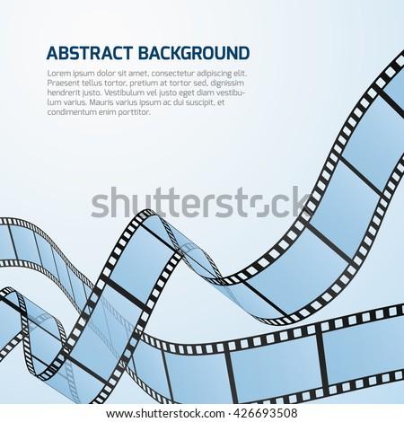 Film strip roll vector cinema background. Cinematography strip film background and wave stripe film illustration - stock vector