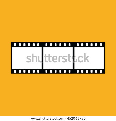 Film strip vector icon. Yellow background - stock vector
