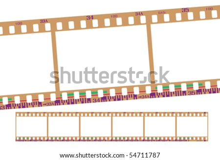 film strip, with realistic negative color. Continuous frames, accurate dimension and details. - stock vector