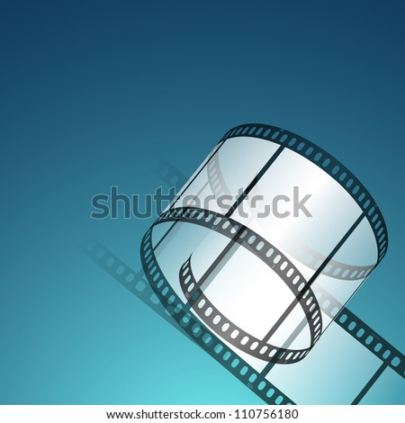 Film stripe or film reel on shiny blue movie background. EPS 10 - stock vector