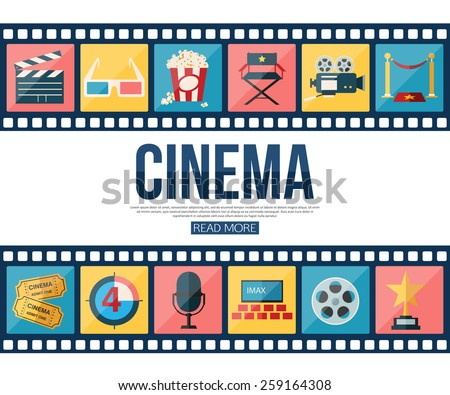 Film strips and cinema icons set for infographics, presentation templates, web and mobile apps. Flat style design. Vector illustration. - stock vector