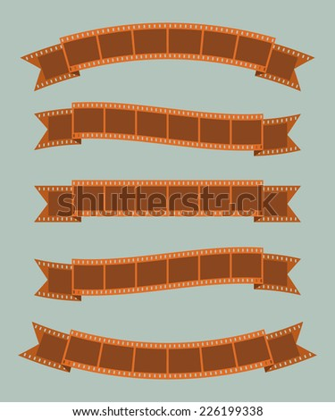 Film strips banner ribbon set - stock vector