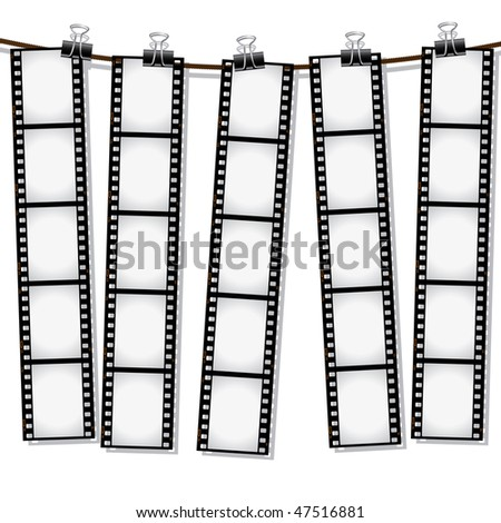 Film strips hanging out to dry - stock vector