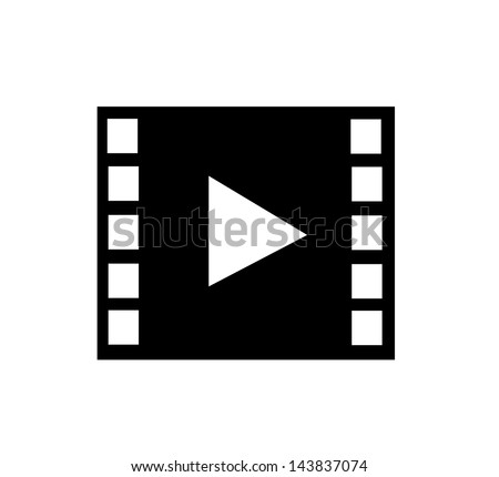 Film, video icon with film strip and player sign vector - stock vector