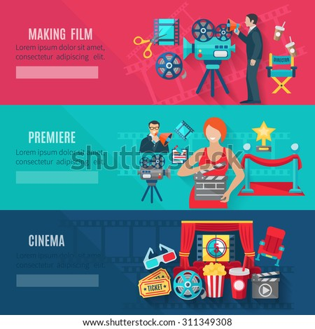Filmmaking and premiere horizontal banners set with cinema tickets cameras and awards flat isolated vector illustration  - stock vector