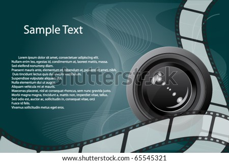 Filmstrip Background with Camera Lens Vector - stock vector