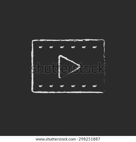 Filmstrip hand drawn in chalk on a blackboard vector white icon on a black background