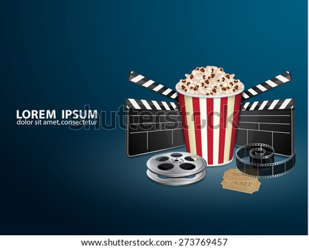 Filmstrip, reel, film clapper with vintage ticket and popcorn. Movie background. Cinema concept. EPS10 vector