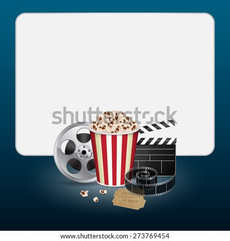 Filmstrip, reel, film clapper with vintage ticket and popcorn on blue background. Cinema concept. EPS10 vector