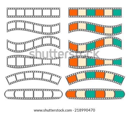 Filmstrips set isolated on white background, vector illustration - stock vector