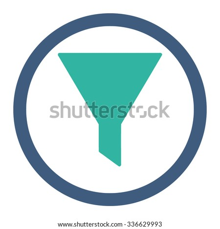 Filter vector icon. Style is bicolor flat rounded symbol, cobalt and cyan colors, rounded angles, white background.