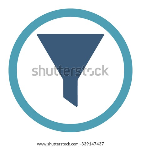 Filter vector icon. Style is bicolor flat rounded symbol, cyan and blue colors, rounded angles, white background.