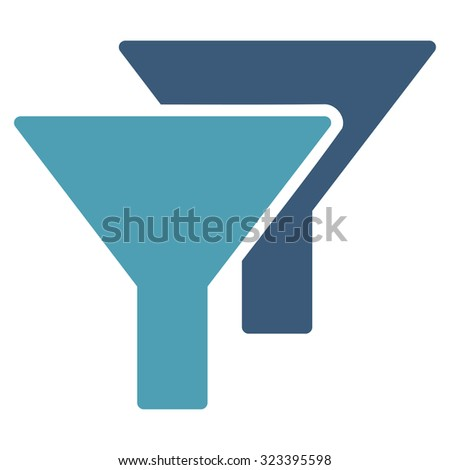 Filters vector icon. Style is bicolor flat symbol, cyan and blue colors, rounded angles, white background.
