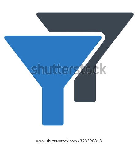 Filters vector icon. Style is bicolor flat symbol, smooth blue colors, rounded angles, white background.