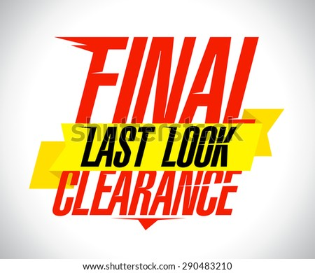 Final clearance text design with yellow ribbon. - stock vector