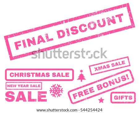 Final Discount rubber seal stamp watermark with additional banners for Christmas and New Year offers. Tag inside rectangular shape with grunge design and scratched texture. Vector pink emblems.