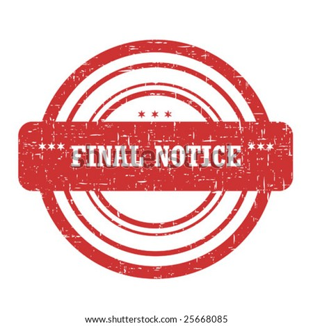 Final notice stamp isolated on white - stock vector