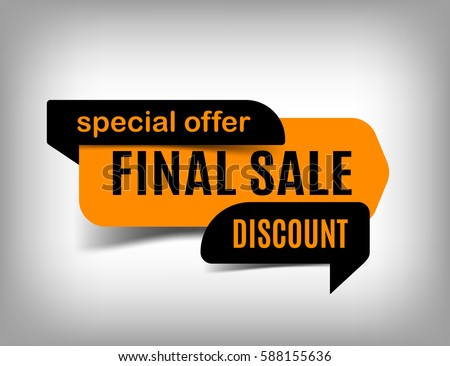 Final sale banner discount tag special offer website sticker orange web page