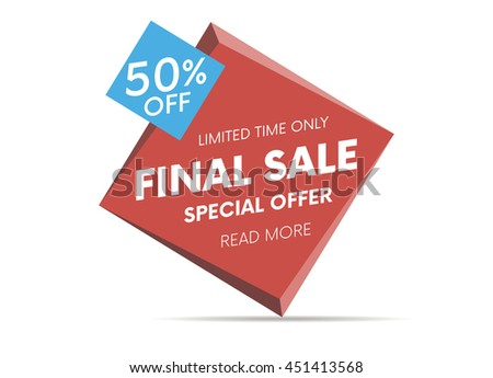 Final sale, special offer web banner and poster, background. Vector illustration.