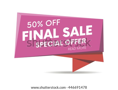 Final sale, special offer web banner, poster and background. Vector illustration. Read more place.