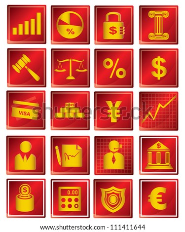 finance and banking icon set, red - stock vector