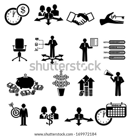 Finance and business icon set - stock vector