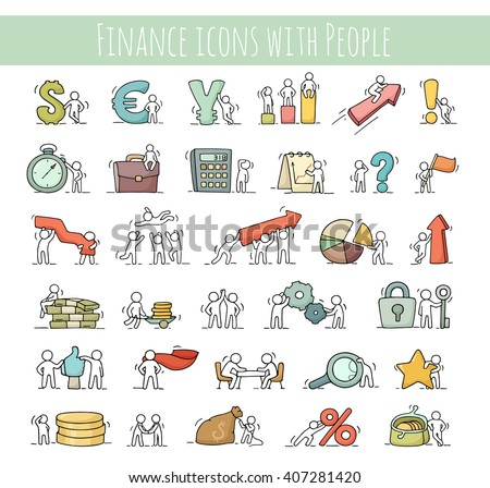 Finance and business icons set of sketch working little people with arrow, money, currency. Doodle cute miniature scenes of workers. Hand drawn cartoon vector for business, finance design,infographic. - stock vector