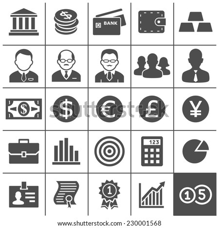 Finance and business icons. Vector illustration. Simplus series - stock vector