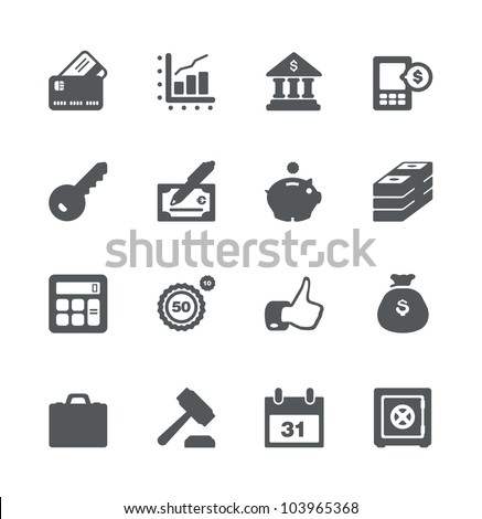 Finance and business simple minimalistic icon set - stock vector