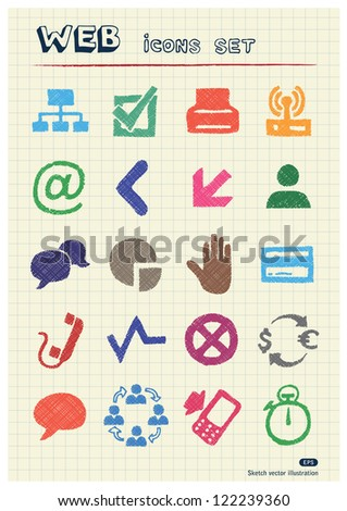 Finance and Internet icons set drawn by color pencils. Hand drawn vector elements pack isolated on paper - stock vector