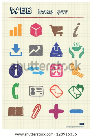 Finance and Internet icons set drawn by color pencils. Hand drawn vector elements pack isolated on paper
