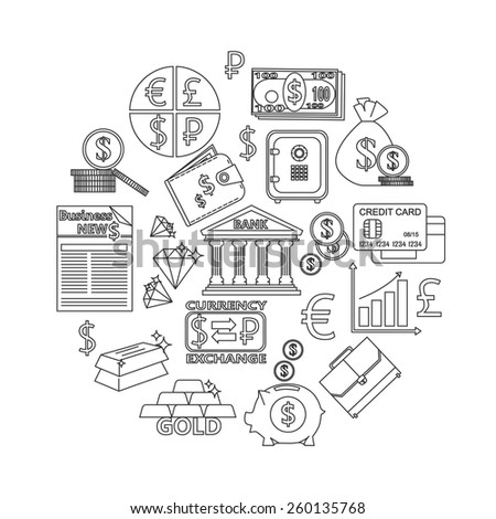 Finance and investing outline icons set. Vector illustration. - stock vector
