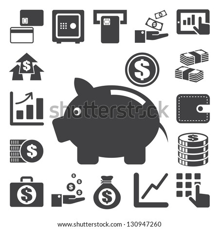 Finance and money icon set.Illustration eps10 - stock vector