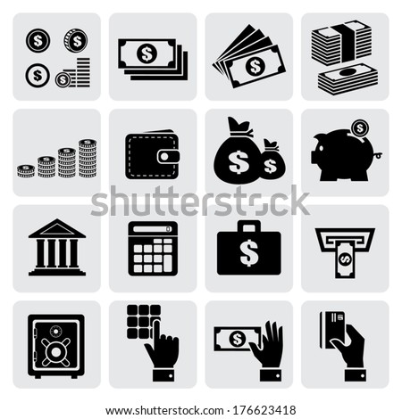 Finance and money icons set, Vector illustration  - stock vector