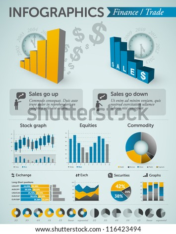 Finance and Trade infographics - charts, graphs, symbols, info charts & other business design elements - stock vector