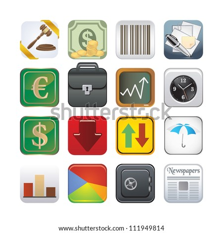 finance app icons - stock vector